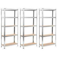 vidaXL Skladové regály 3 ks stříbrné 75 x 30 x 172 cm ocel a MDF