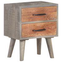 321806 vidaXL Bedside Cabinet Grey 40x30x50 cm Solid Rough Mango Wood