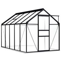 vidaXL Skleník s podkladovým rámem antracitový hliník 5,89 m²