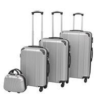 vidaXL Čtyřdílná sada skořepinových kufrů na kolečkách, stříbrná