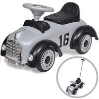 Šedé retro dětské odrážedlo auto s vodicí tyčí