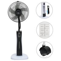 vidaXL Pedestal Mist Fan with Remote Controller Black and White