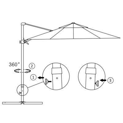 vidaXL Konzolový slunečník s hliníkovou tyčí 250 x 250 cm pískový