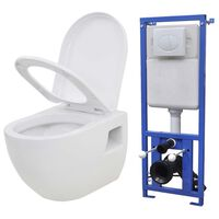 vidaXL Závěsná toaleta s podomítkovou nádržkou bílá keramická