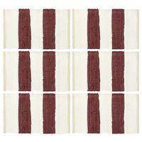 vidaXL Prostírání 6 ks chindi proužky vínové a bílé 30 x 45 cm