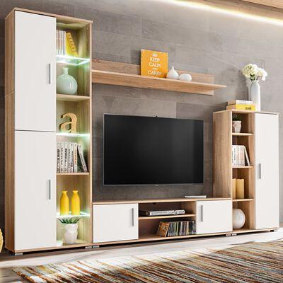 vidaXL Obývací stěna s LED osvětlením v barvě sonoma dubu a bílá