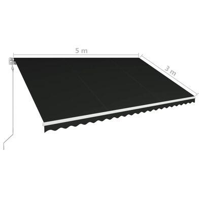 vidaXL Automatická zatahovací markýza 500 x 300 cm antracitová