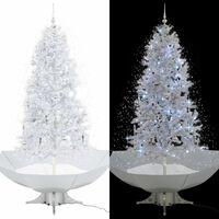 vidaXL Sněžící vánoční stromeček s deštníkovým stojanem bílý 190 cm