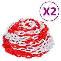 vidaXL Výstražné řetězy 2 ks červeno-bílé plast 30 m
