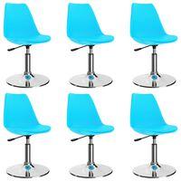 vidaXL Otočné jídelní židle 6 ks modré umělá kůže