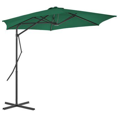 vidaXL Zahradní slunečník s ocelovou tyčí 300 cm zelený
