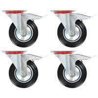 vidaXL Otočná kolečka s dvojitou brzdou 4 ks 160 mm