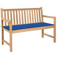 vidaXL Zahradní lavice s královsky modrou poduškou 120 cm masivní teak