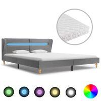 vidaXL Postel s matrací a LED světle šedá textil 160 x 200 cm