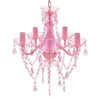 RŮŽOVÝ klasický křišťálový lustr na 5 žárovek