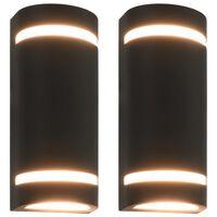 vidaXL Venkovní nástěnná svítidla 2 ks 35 W černá půlkruhová