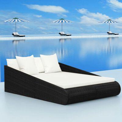 vidaXL Zahradní postel černá 201 x 139 cm polyratan