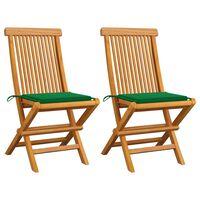 vidaXL Zahradní židle se zelenými poduškami 2 ks masivní teak