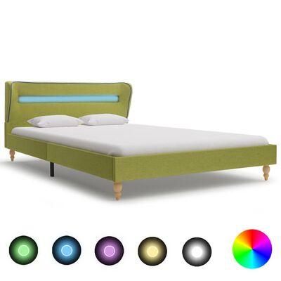 vidaXL Rám postele s LED světlem zelený textil 120 x 200 cm