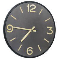 vidaXL Nástěnné hodiny antracitovo-zlaté 31,5 cm železo a MDF