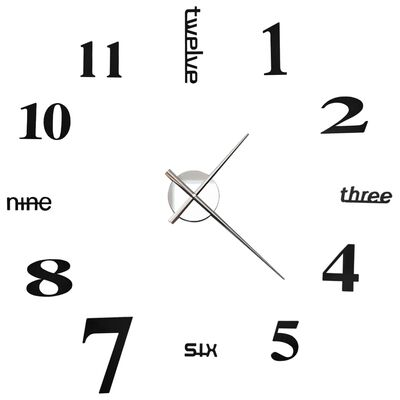 vidaXL 3D Nástěnné hodiny s moderním designem 100 cm XXL černé