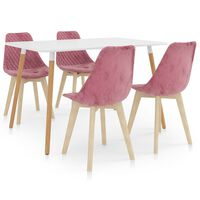 vidaXL 5 Piece Dining Set Pink (287242+289159)