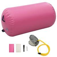 vidaXL Nafukovací cvičební válec s pumpou 120 x 90 cm PVC růžový