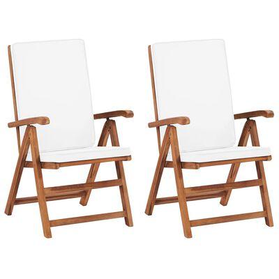 vidaXL Polohovací zahradní židle s poduškami 2 ks masivní teak krémové, Cream