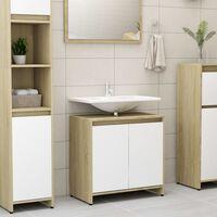 vidaXL Koupelnová skříňka bílá a dub sonoma 60x33x58 cm dřevotříska