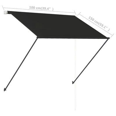 vidaXL Zatahovací markýza s LED světlem 100 x 150 cm antracitová