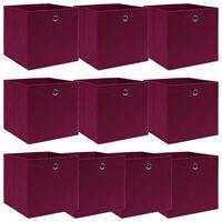 vidaXL Úložné boxy 10 ks tmavě červené 32 x 32 x 32 cm textil