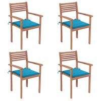 vidaXL Zahradní židle 4 ks modré podušky masivní teak