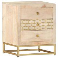 vidaXL Noční stolek zlatý 40 x 30 x 50 cm masivní mangovníkové dřevo
