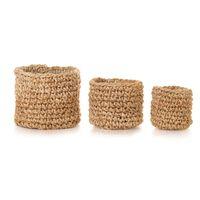 vidaXL Ručně pletená sada 3 košíků z juty přírodní