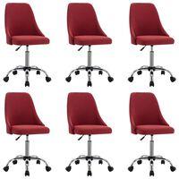 vidaXL Jídelní židle 6 ks vínové textil