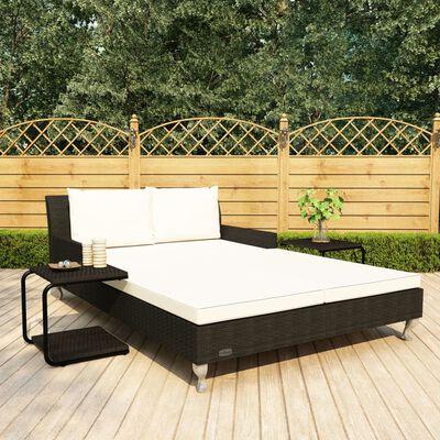 vidaXL 2místné zahradní lehátko s poduškou polyratan černé