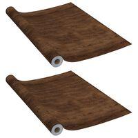 vidaXL Samolepící tapety na nábytek 2 ks tmavý dub 500 x 90 cm PVC
