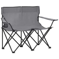 vidaXL 2místná skládací kempingová sedačka ocel a textil šedé