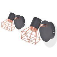 vidaXL Nástěnná lampa 2 ks E14 černá a měď