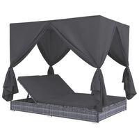 vidaXL Zahradní postel se závěsy polyratan šedá