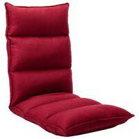 325243 vidaXL Folding Floor Chair Wine Red Fabric