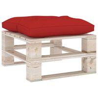 3066092 vidaXL Garden Pallet Ottoman with Red Cushion Pinewood (315824+314630)