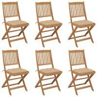 vidaXL Skládací zahradní židle s poduškami 6 ks masivní akáciové dřevo