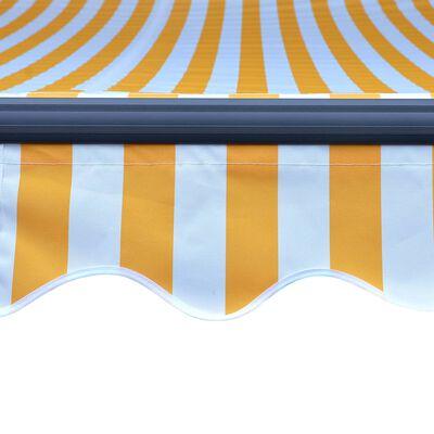 vidaXL Ručně zatahovací markýza s LED světlem 300 x 250 cm žluto-bílá