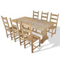 vidaXL Sedmidílný jídelní set stolu a židlí masivní teak