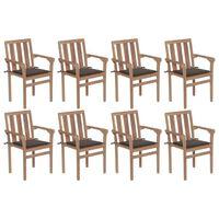vidaXL Stohovatelné zahradní židle s poduškami 8 ks masivní teak
