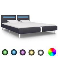 vidaXL Rám postele s LED světlem černý umělá kůže 160 x 200 cm