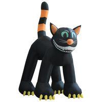 vidaXL Nafukovací černá kočka Halloween s LED XXL 6 m