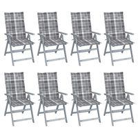 vidaXL Zahradní polohovací židle s poduškami 8 ks šedé akáciové dřevo