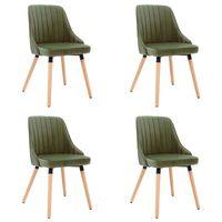 vidaXL Jídelní židle 4 ks světle zelené samet